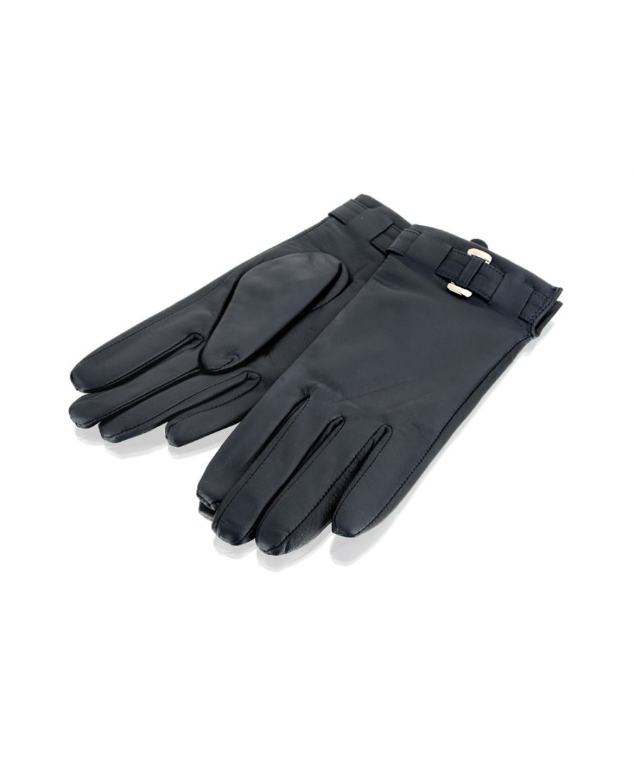 Image for Ladies Navy Belted Leather Gloves