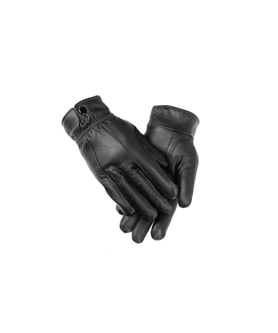 Image for Ladies Black Elasticated Stud Fasten Leather Gloves