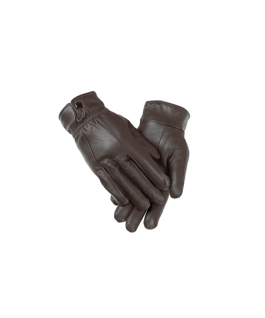 Image for Ladies Brown Elasticated Stud Fasten Leather Gloves