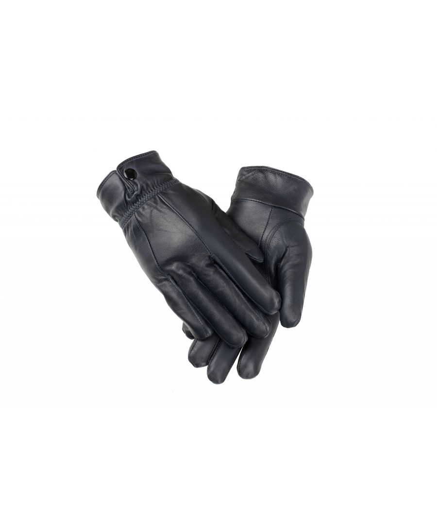 Image for Ladies Navy Elasticated Stud Fasten Leather Gloves