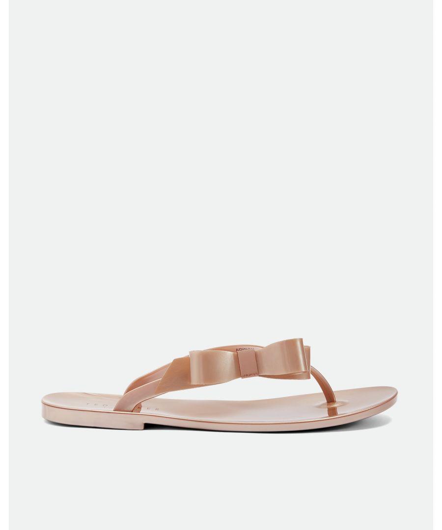 Image for Ted Baker Glamarb Bow Detail Jelly Flip Flops, Rose Gold