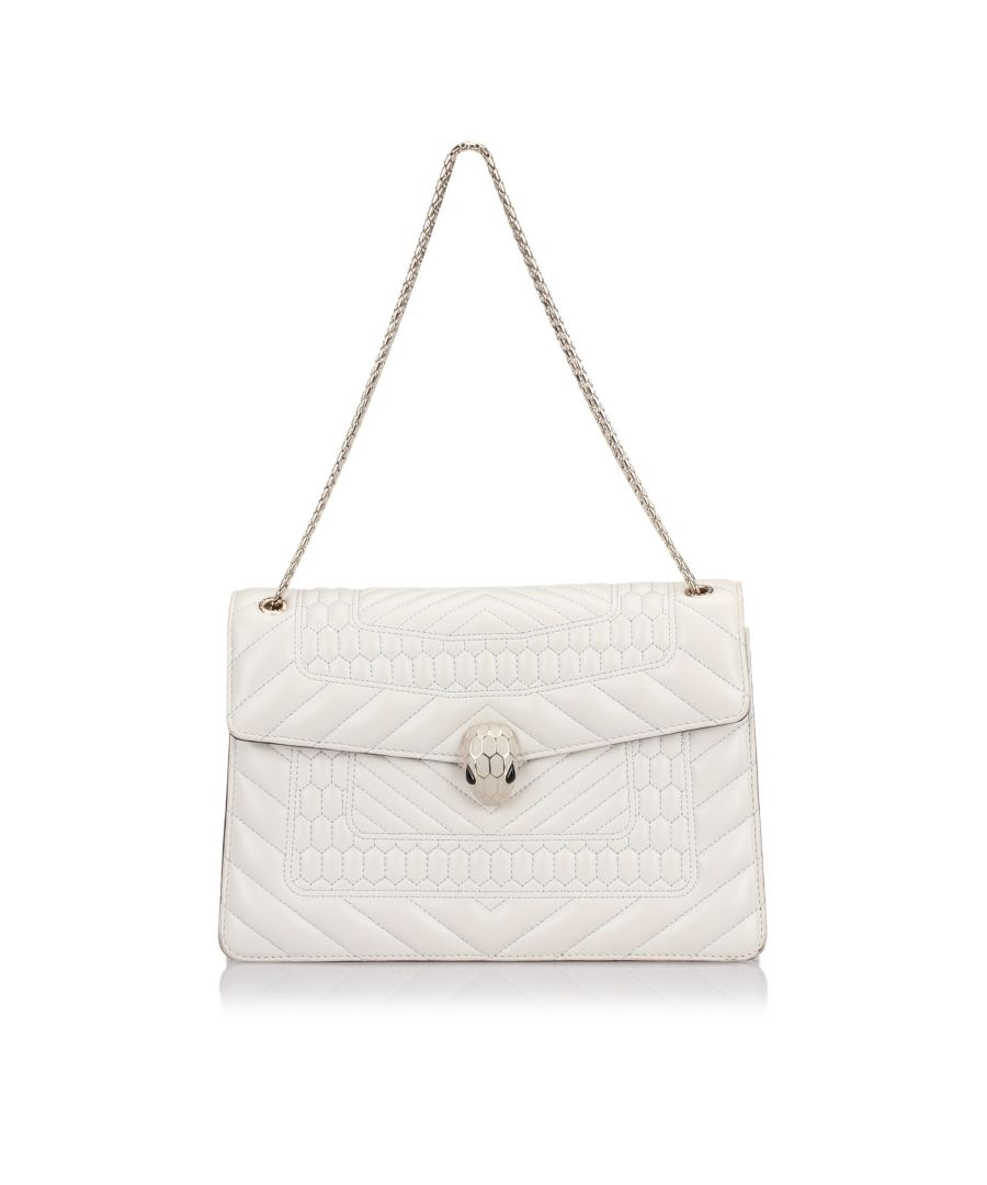 Image for Bvlgari Quilted Serpenti Forever Flap Bag White