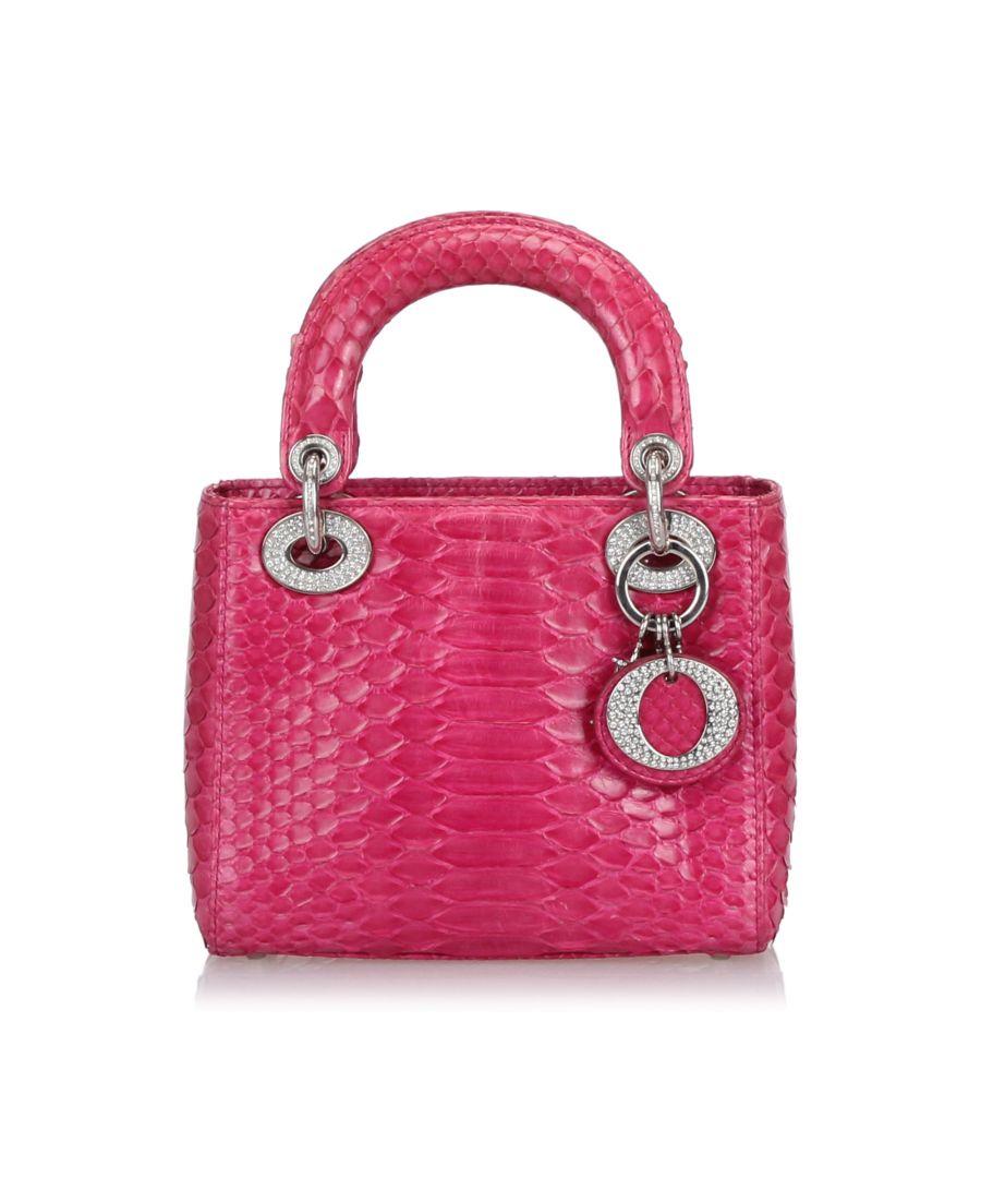 Image for Dior Mini Python Lady Dior Handbag Pink