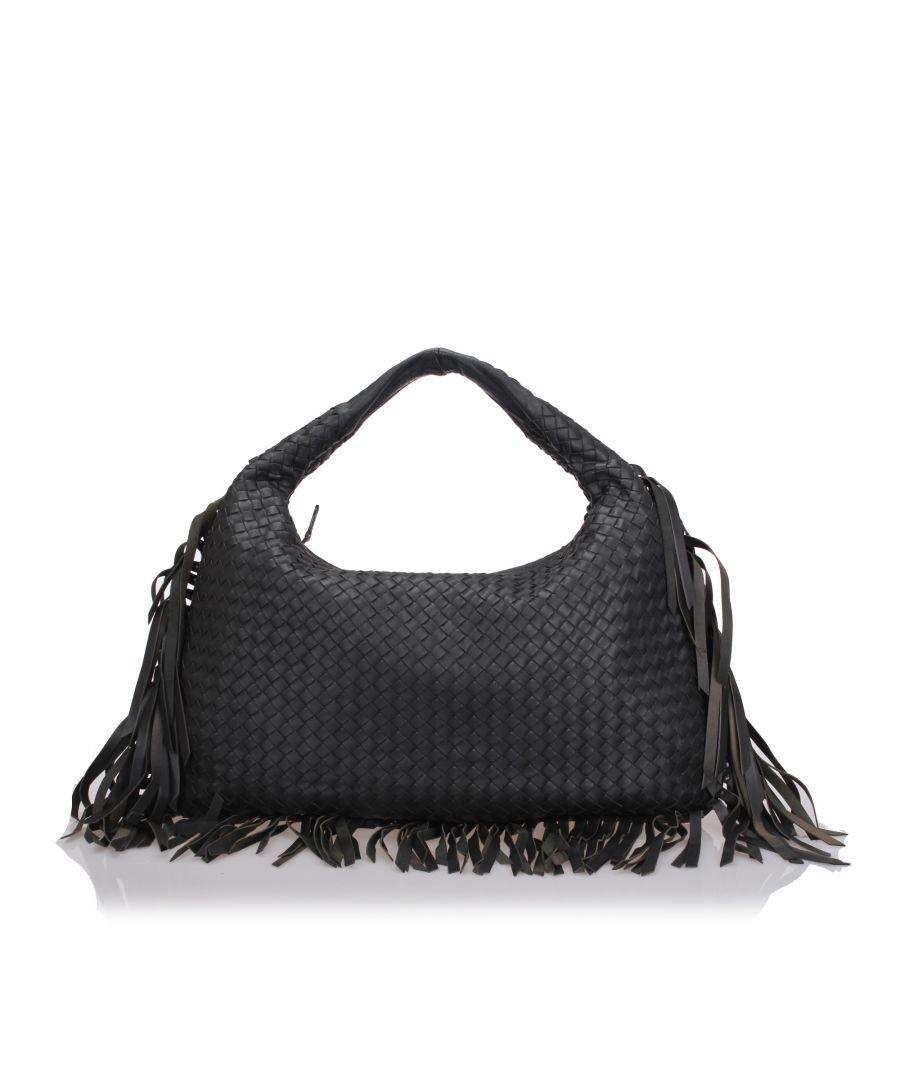 Image for Bottega Veneta Intrecciato Fringed Leather Hobo Bag Gray