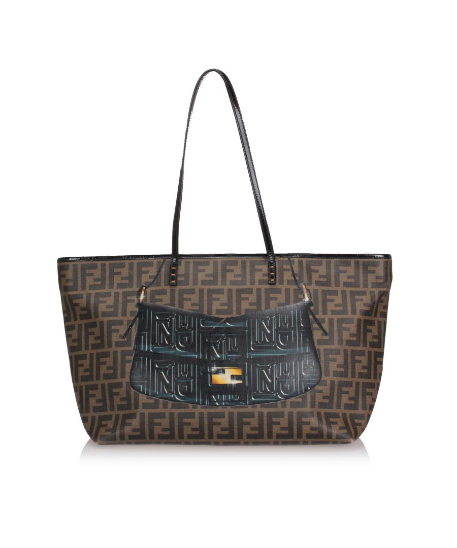 Image for Fendi Zucca Roll Tote Bag Brown