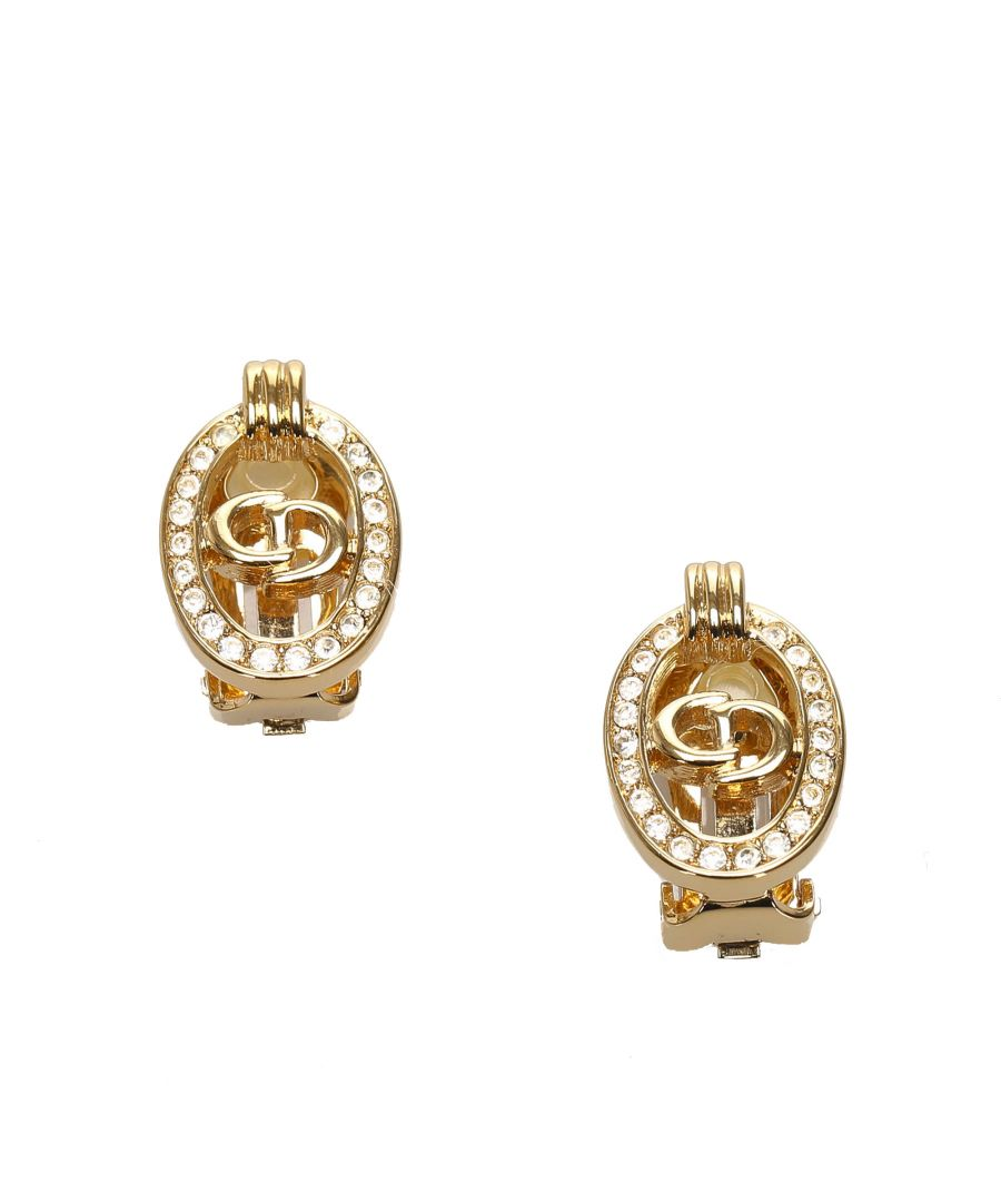 Image for Vintage Dior Logo Rhinestone Clip-On Earrings Gold