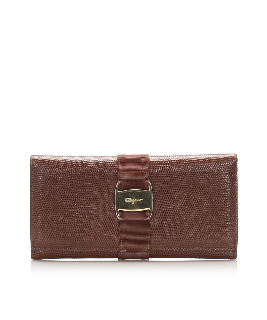 Image for Vintage Ferragamo Vara Leather Long Wallet Brown