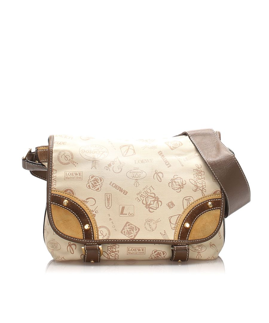 Image for Vintage Loewe 160th Anniversary Canvas Crossbody Bag Brown