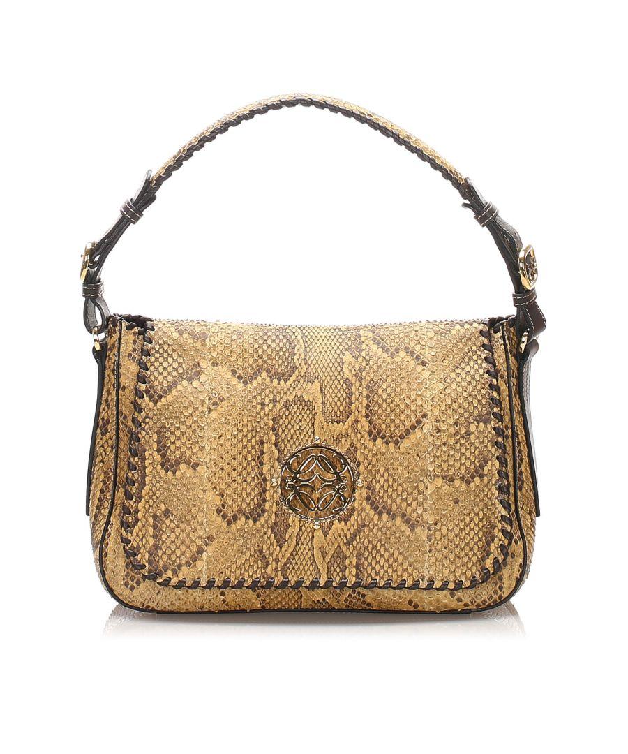 Image for Vintage Loewe Python Leather Shoulder Bag Brown