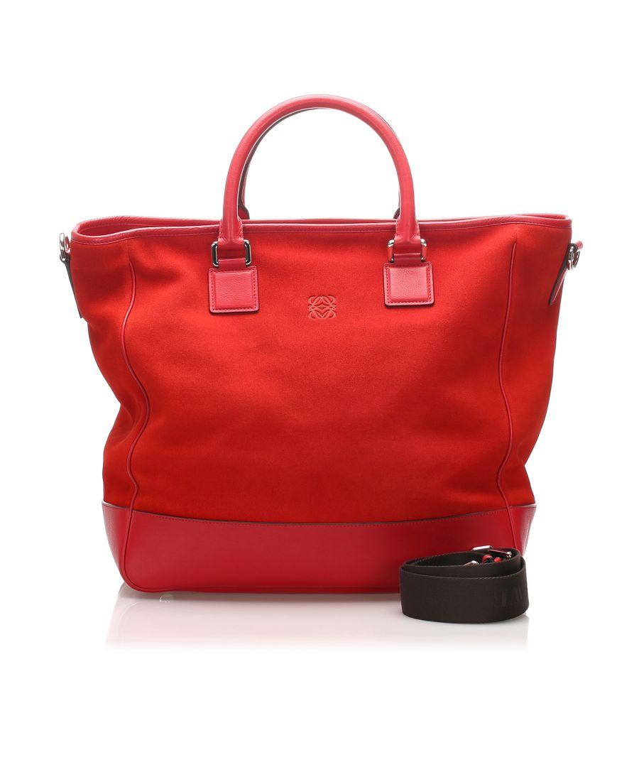 Image for Vintage Loewe Suede Leather Satchel Red