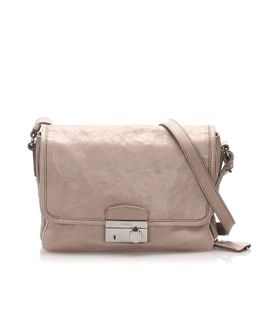 Image for Vintage Prada Sound Leather Crossbody Bag Gray