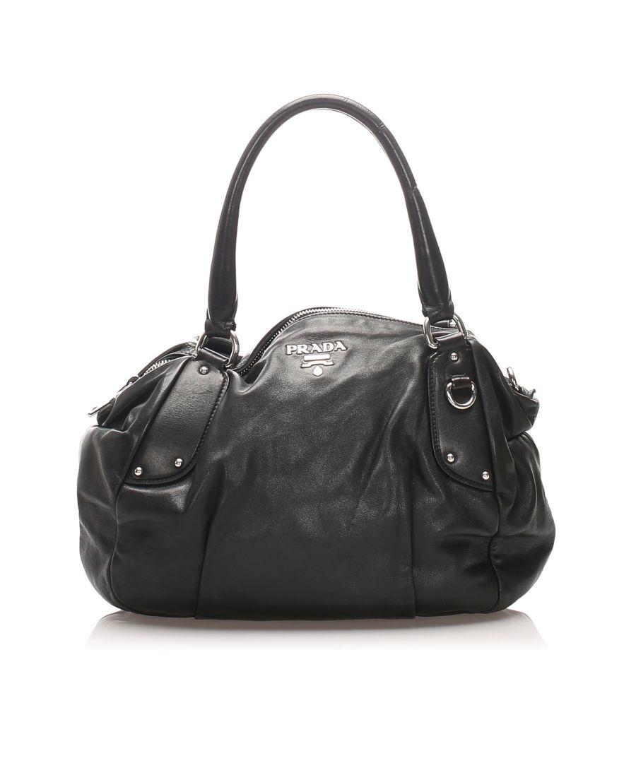 Image for Vintage Prada Leather Handbag Black