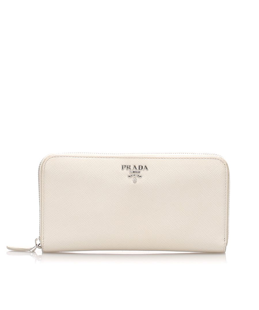 Image for Vintage Prada Saffiano Leather Long Wallet White