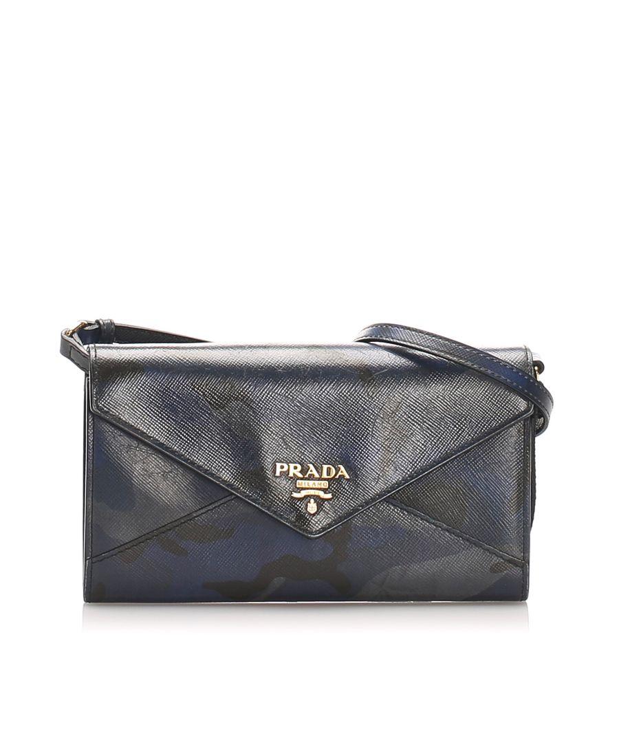 Image for Vintage Prada Saffiano Leather Wallet on Strap Multi