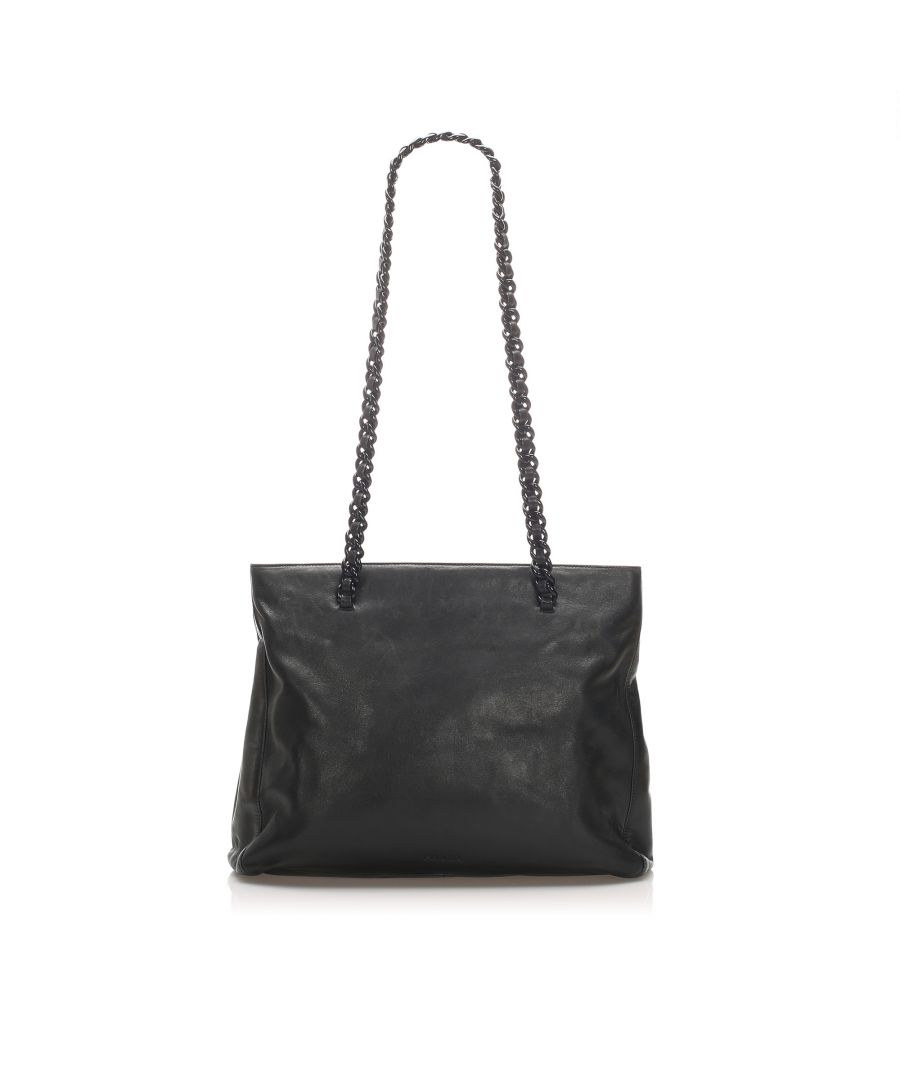 Image for Vintage Prada Chain Leather Tote Bag Black