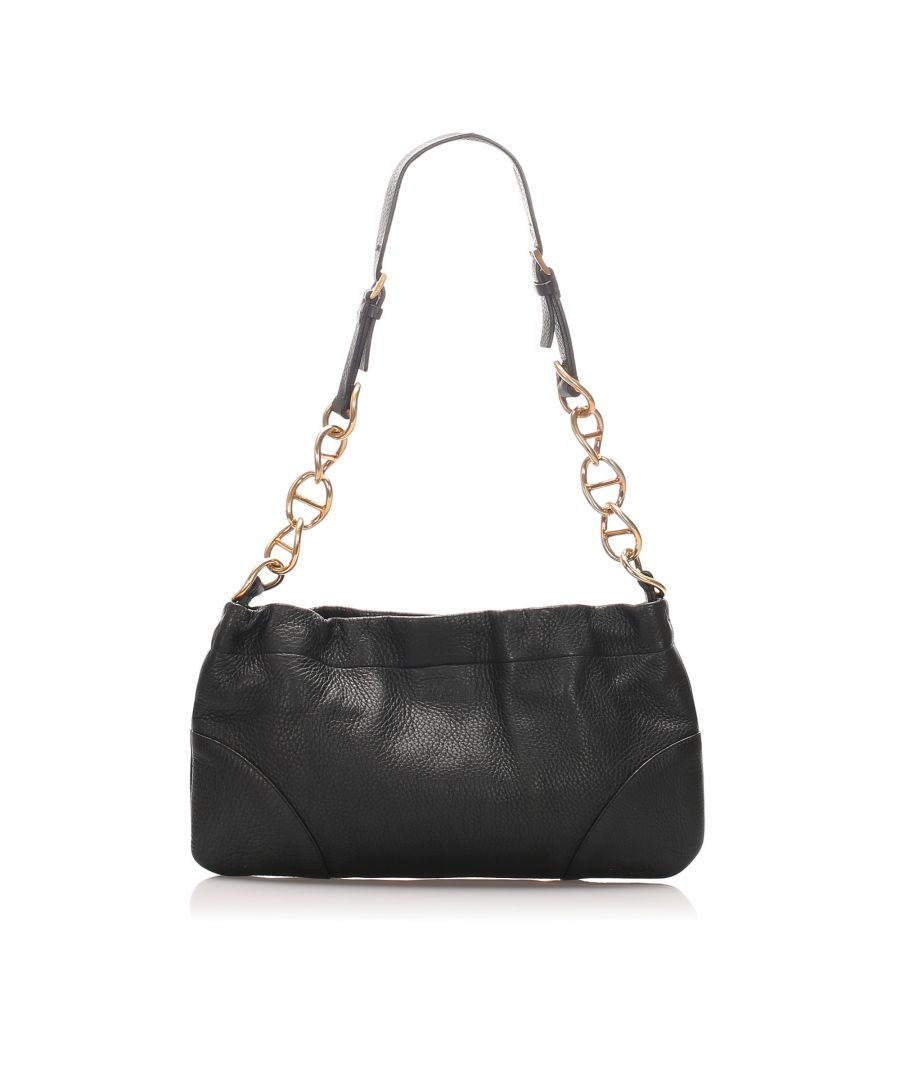 Image for Vintage Prada Vitello Daino Chain Shoulder Bag Black