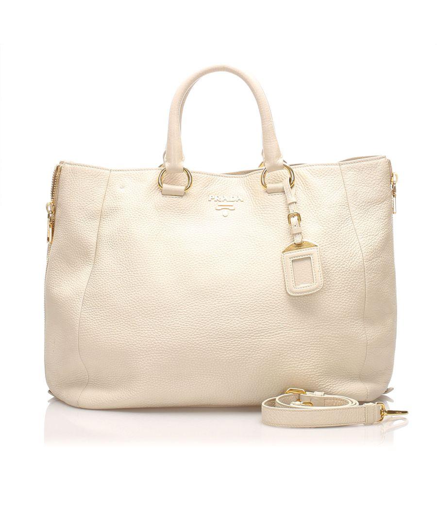 Image for Vintage Prada Vitello Daino Shoulder Bag White