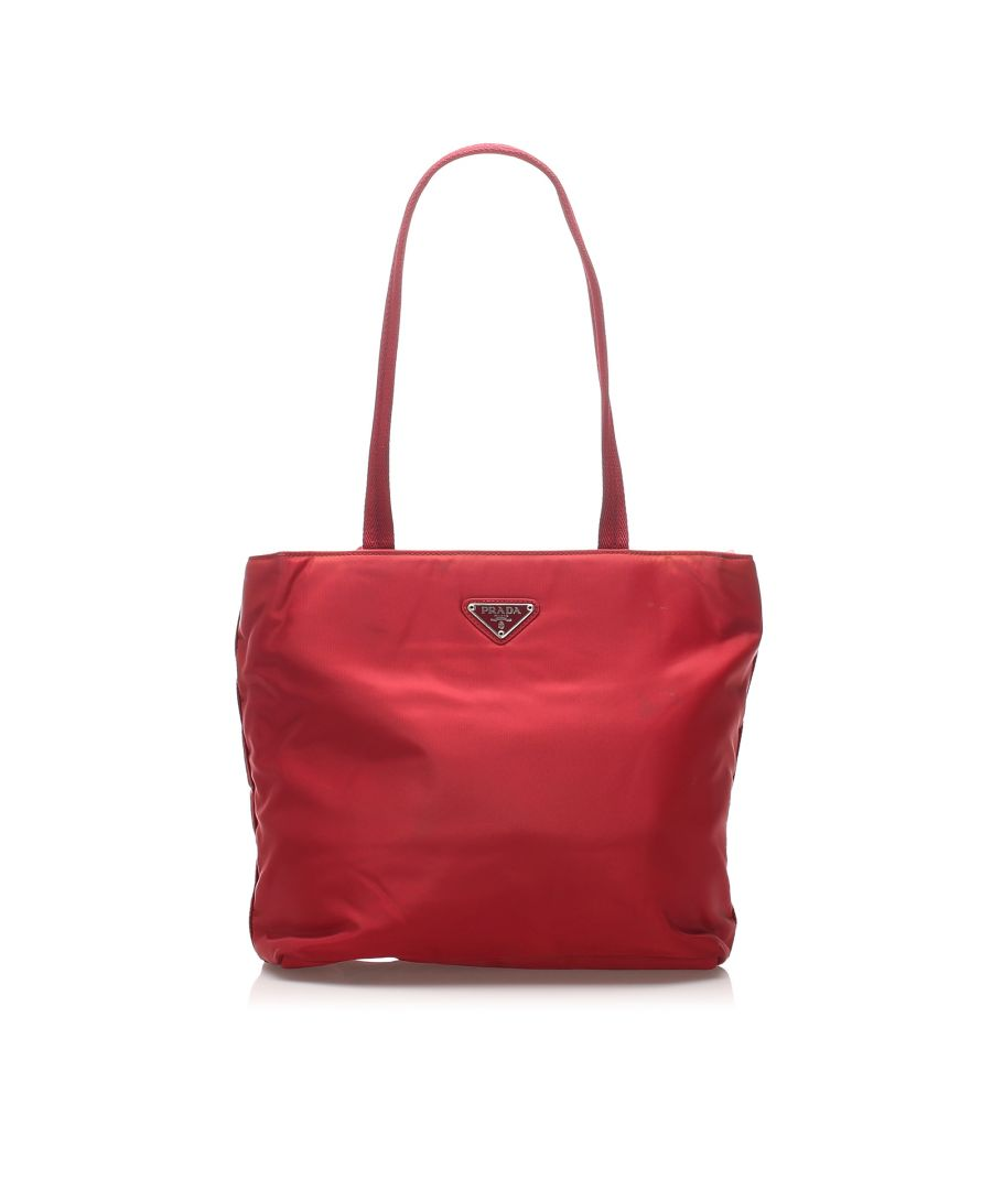 Image for Vintage Prada Tessuto Tote Bag Red