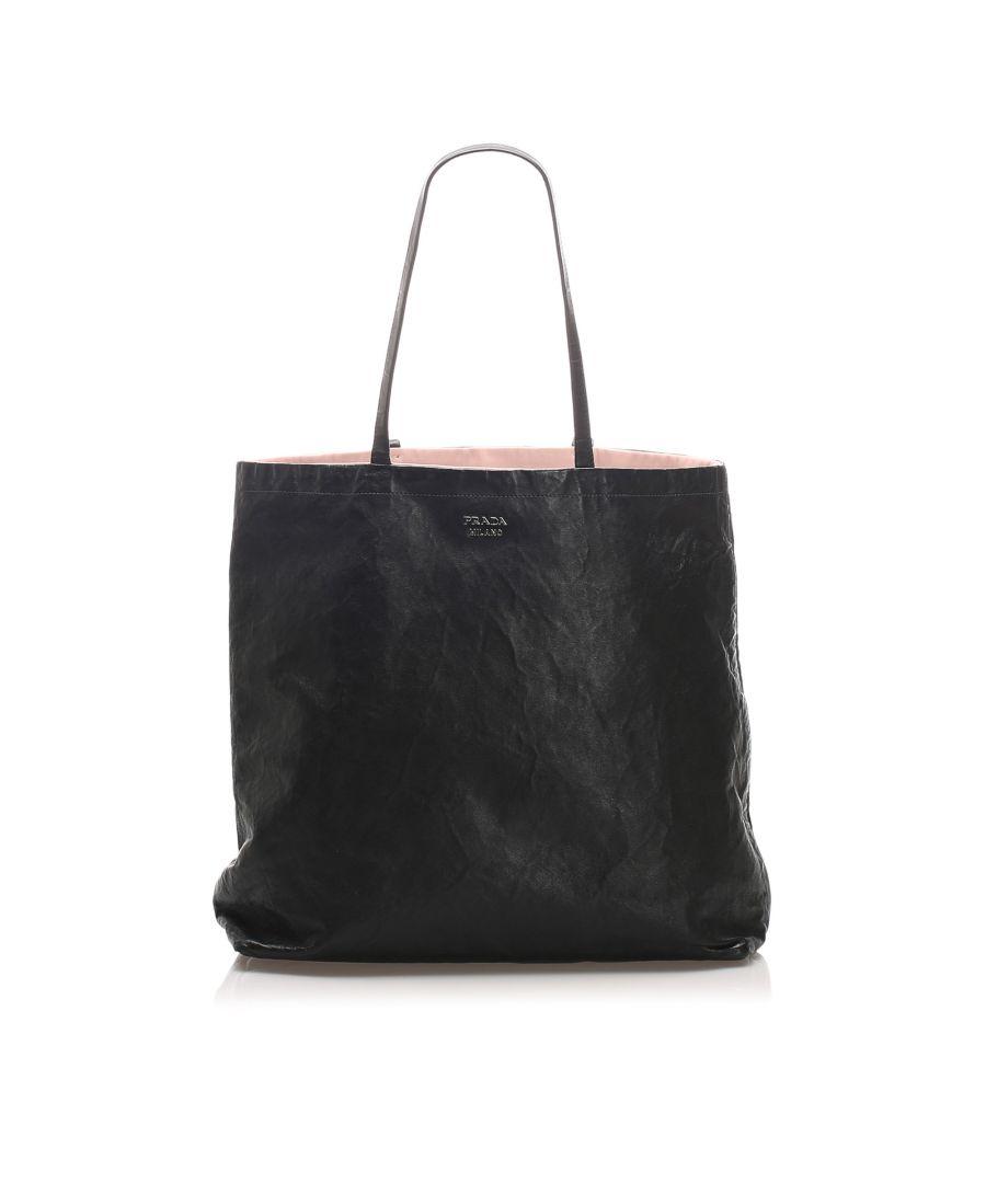 Image for Vintage Prada Leather Tote Bag Black