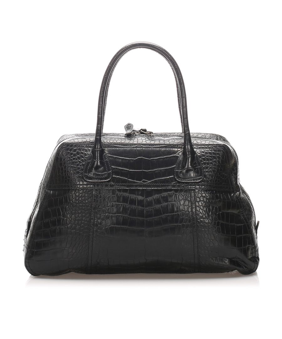 Image for Vintage Prada Embossed Leather Tote Bag Black