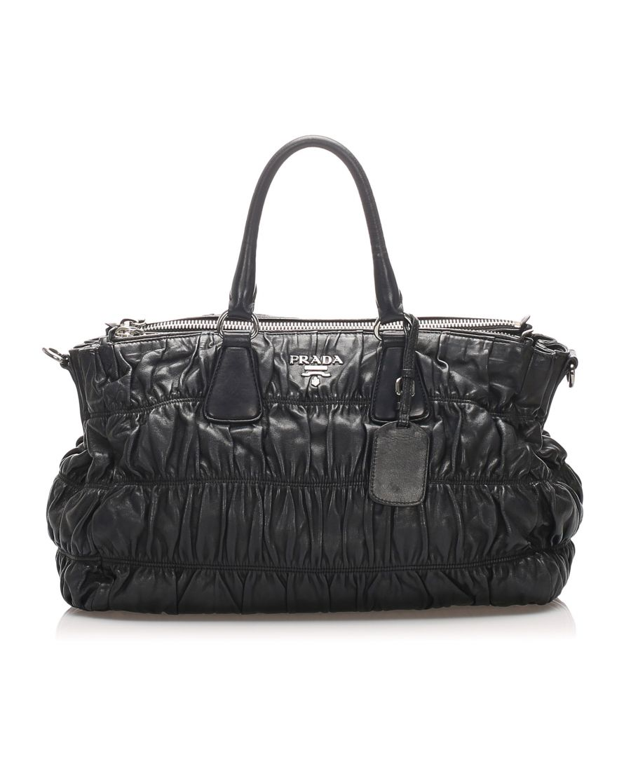 Image for Vintage Prada Gaufre Leather Tote Bag Black