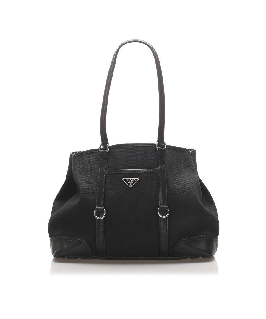 Image for Vintage Prada Canvas Tote Bag Black