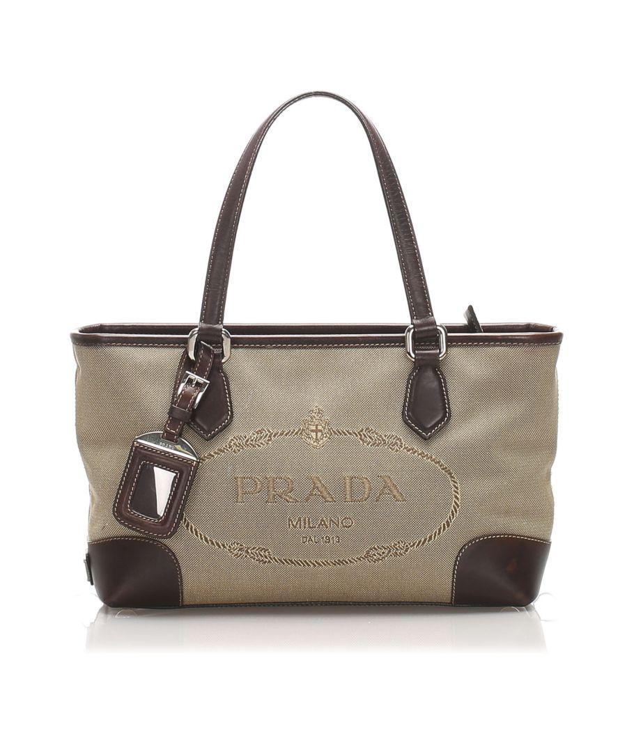 Image for Vintage Prada Canapa Logo Canvas Handbag Brown