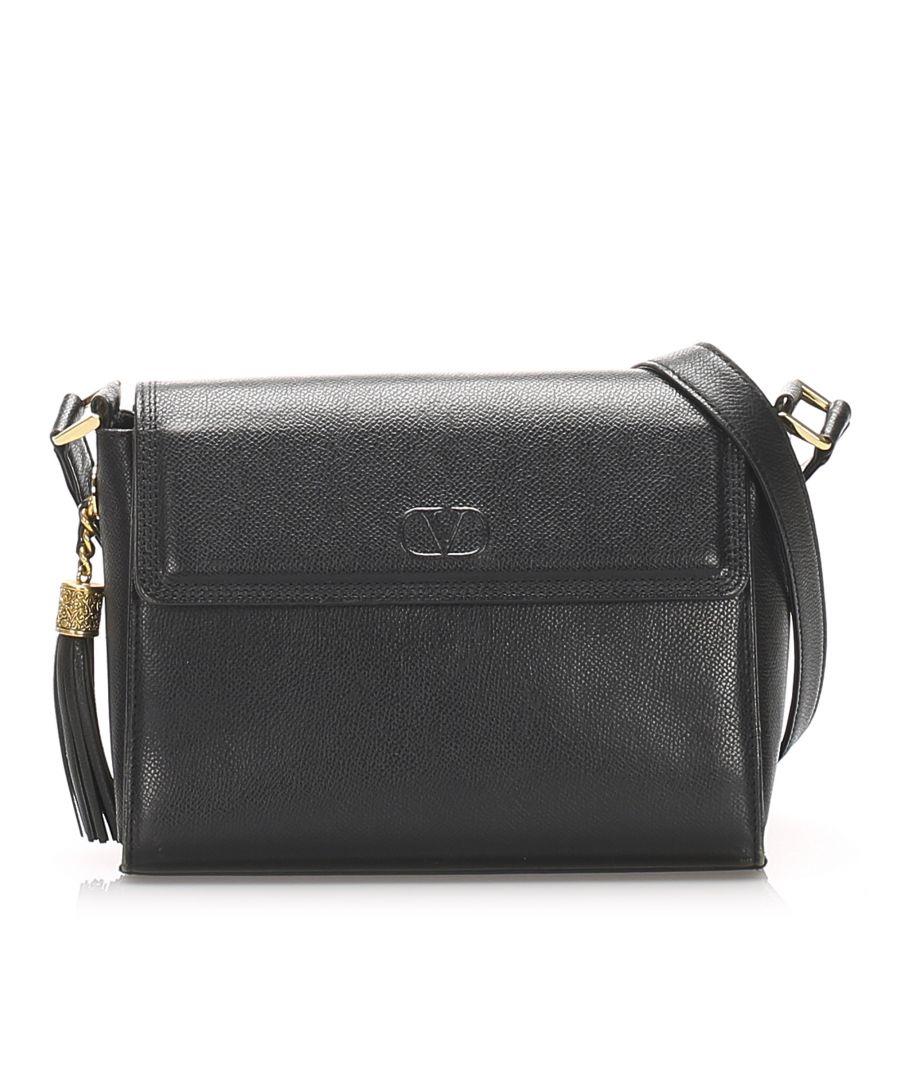 Image for Vintage Valentino Leather Tassel Crossbody Bag Black