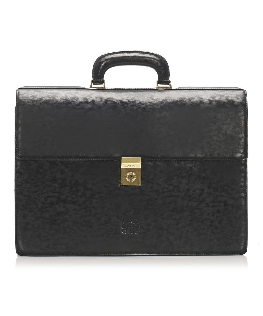 Image for Vintage Loewe Leather Briefcase Black