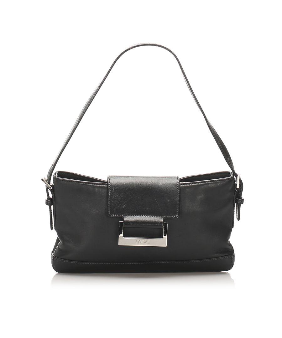 Image for Vintage Loewe Leather Baguette Black