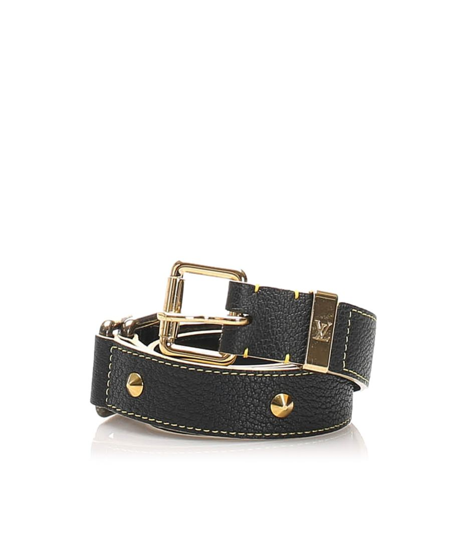 Image for Vintage Louis Vuitton Studded Suhali Belt Black