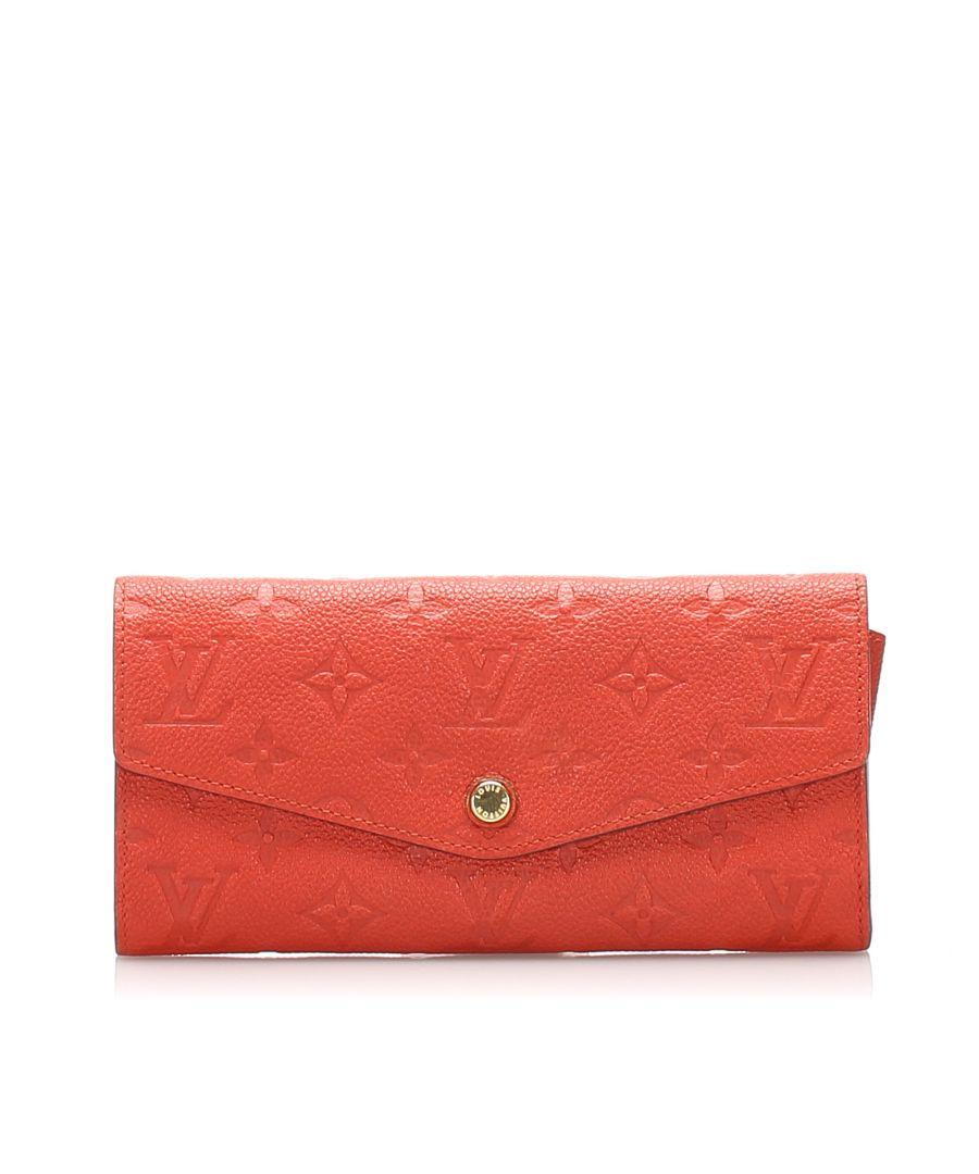 Image for Vintage Louis Vuitton Monogram Empreinte Curieuse Long Wallet Orange