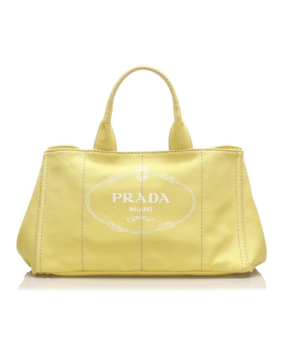 Image for Vintage Prada Canapa Canvas Handbag Yellow