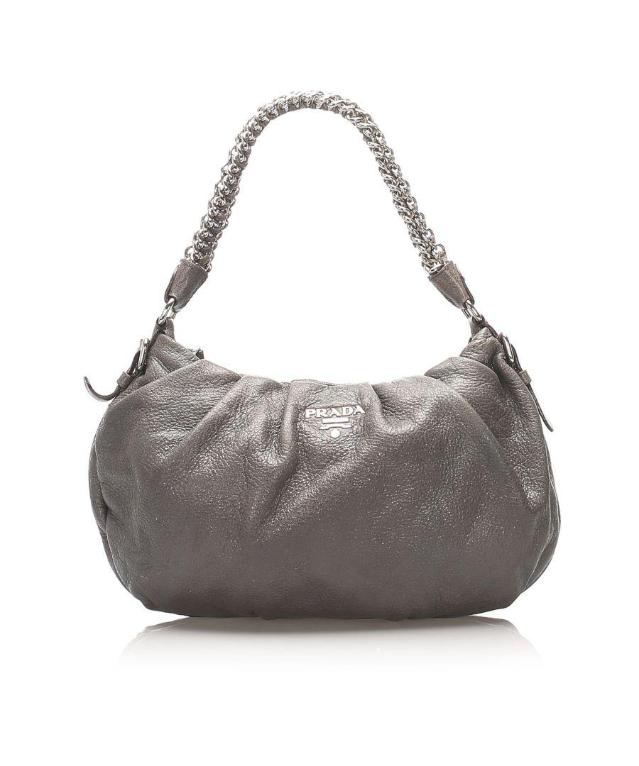 Image for Vintage Prada Leather Chain Shoulder Bag Gray