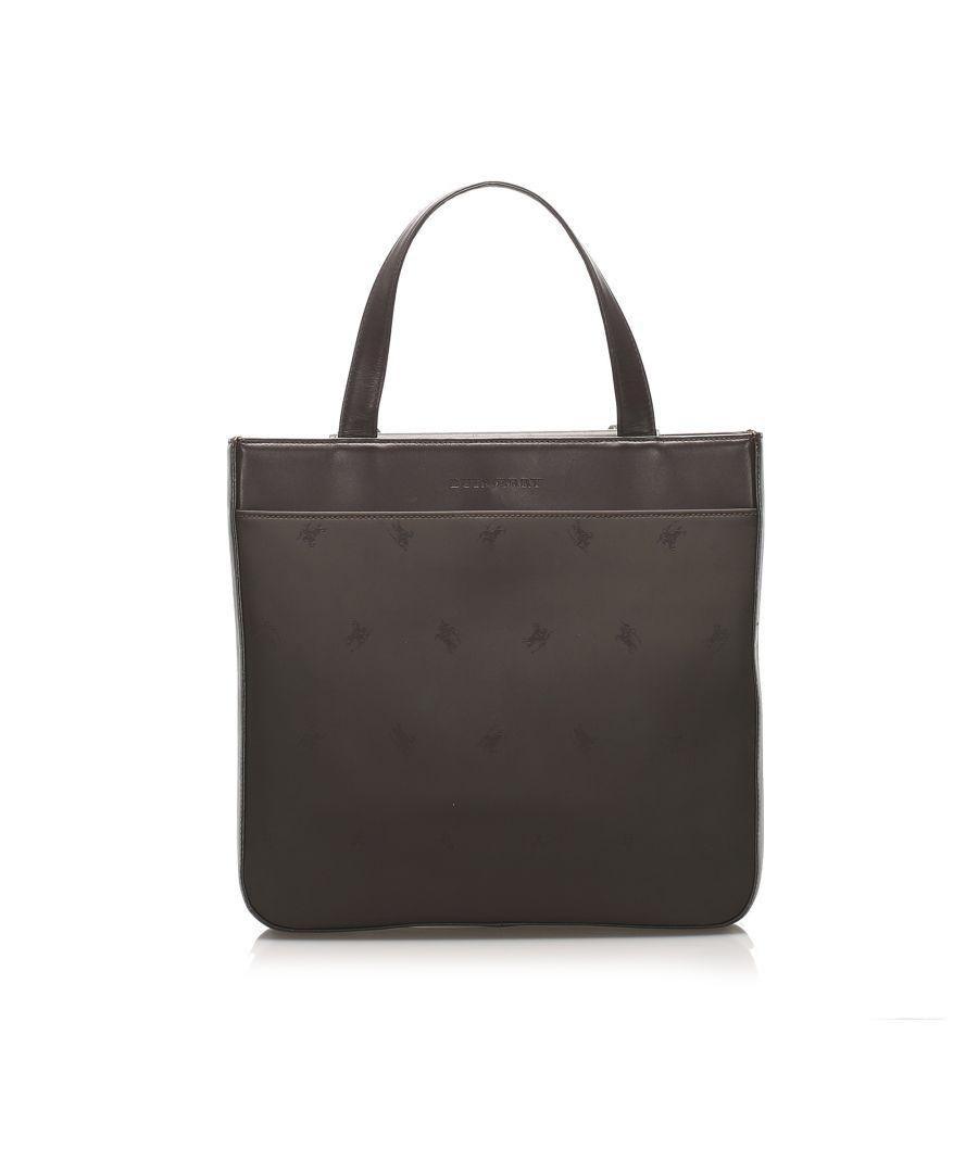 Image for Vintage Burberry Leather Handbag Brown