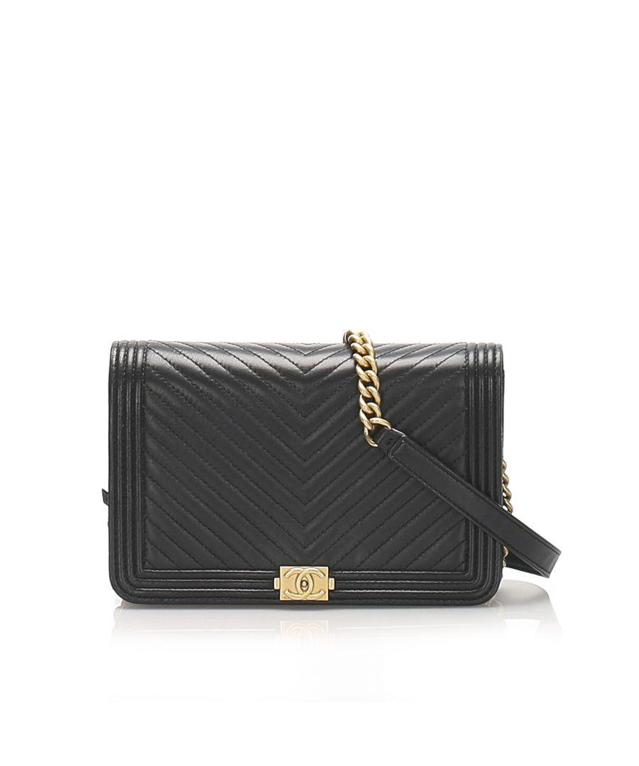 Image for Vintage Chanel Chevron Boy Lambskin Wallet On Chain Black