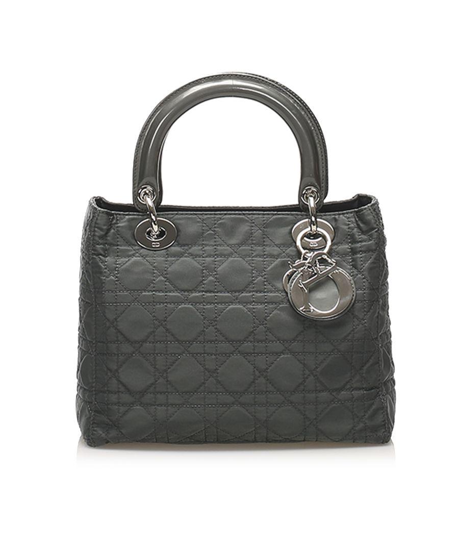 Image for Vintage Dior Cannage Lady Dior Nylon Satchel Black