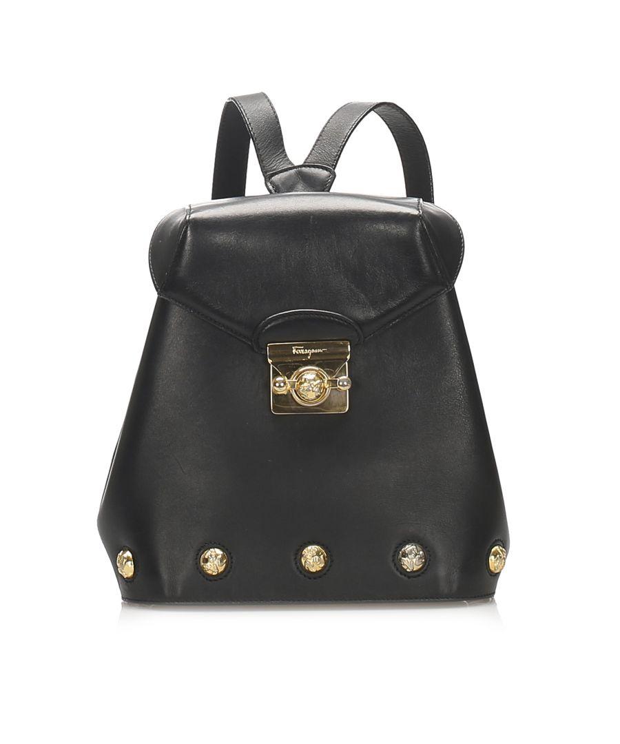 Image for Vintage Ferragamo Leather Crossbody Bag Black