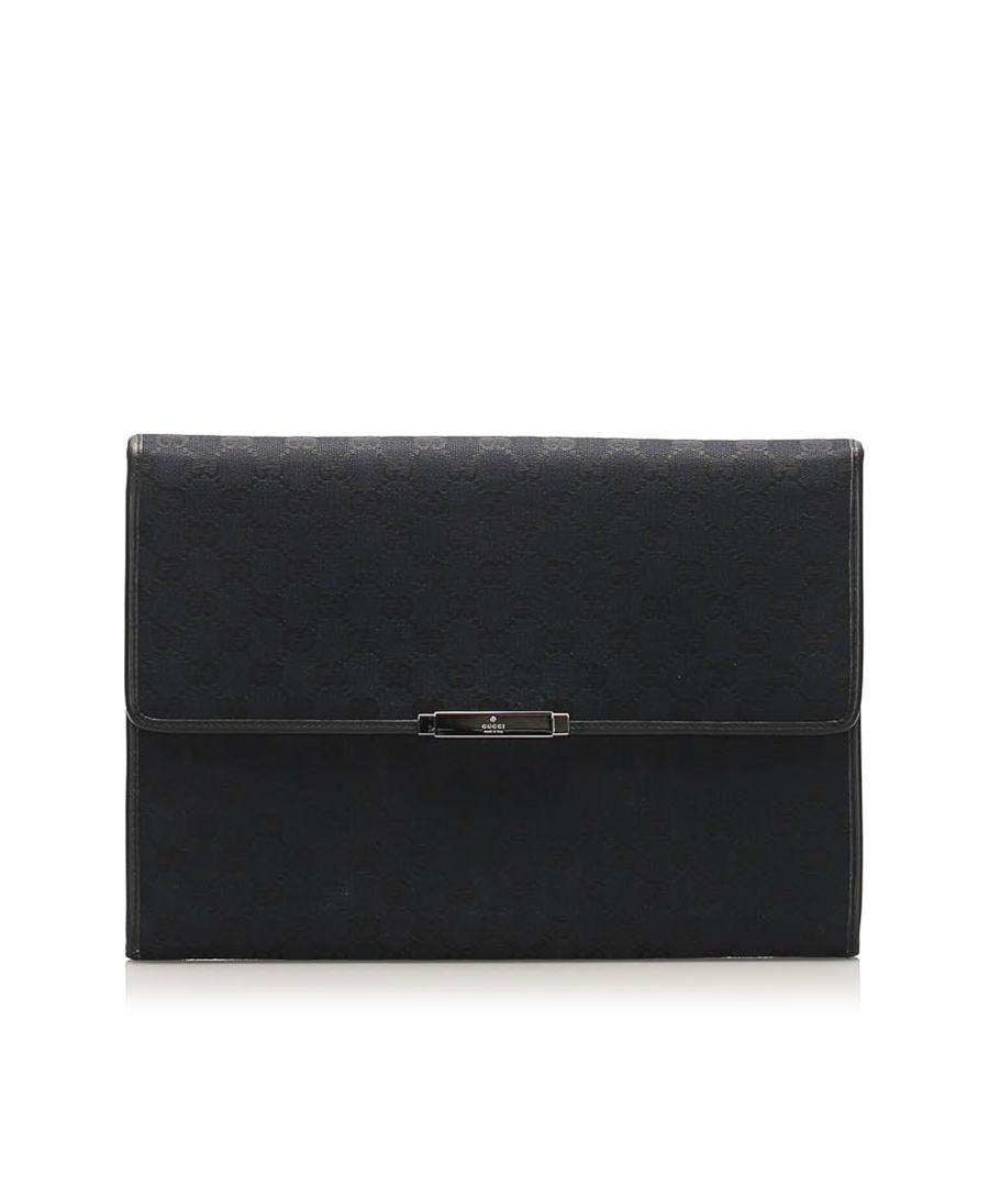 Image for Vintage Gucci GG Canvas Clutch Bag Black