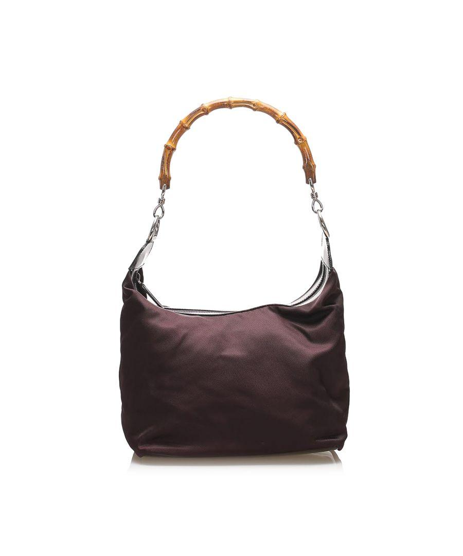 Image for Vintage Gucci Bamboo Nylon Shoulder Bag Black