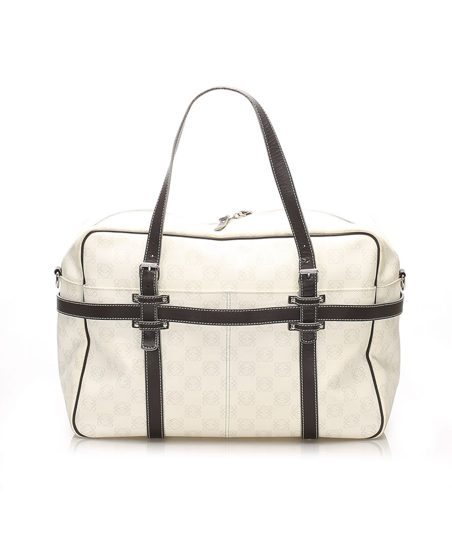 Image for Vintage Loewe Anagram Leather Travel Bag White