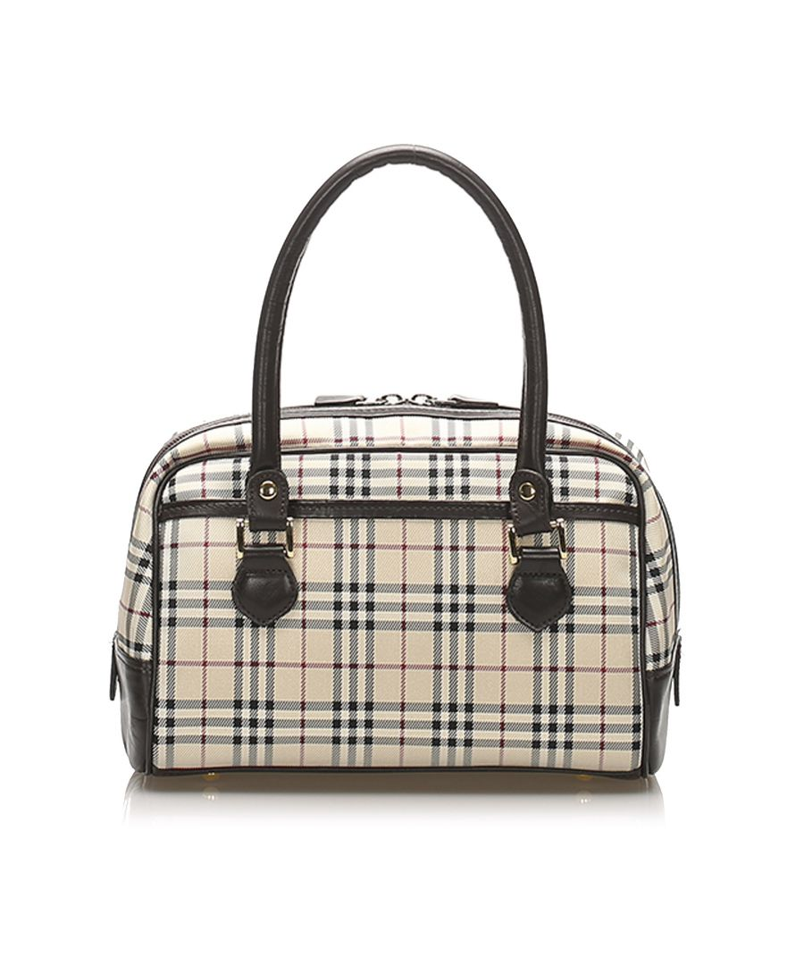 Image for Vintage Burberry House Check Nylon Handbag Brown