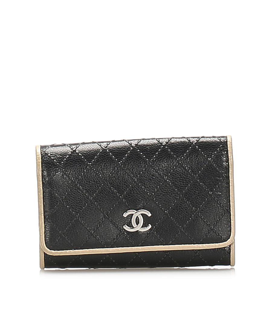 Image for Vintage Chanel CC Lambskin Leather Key Holder Black
