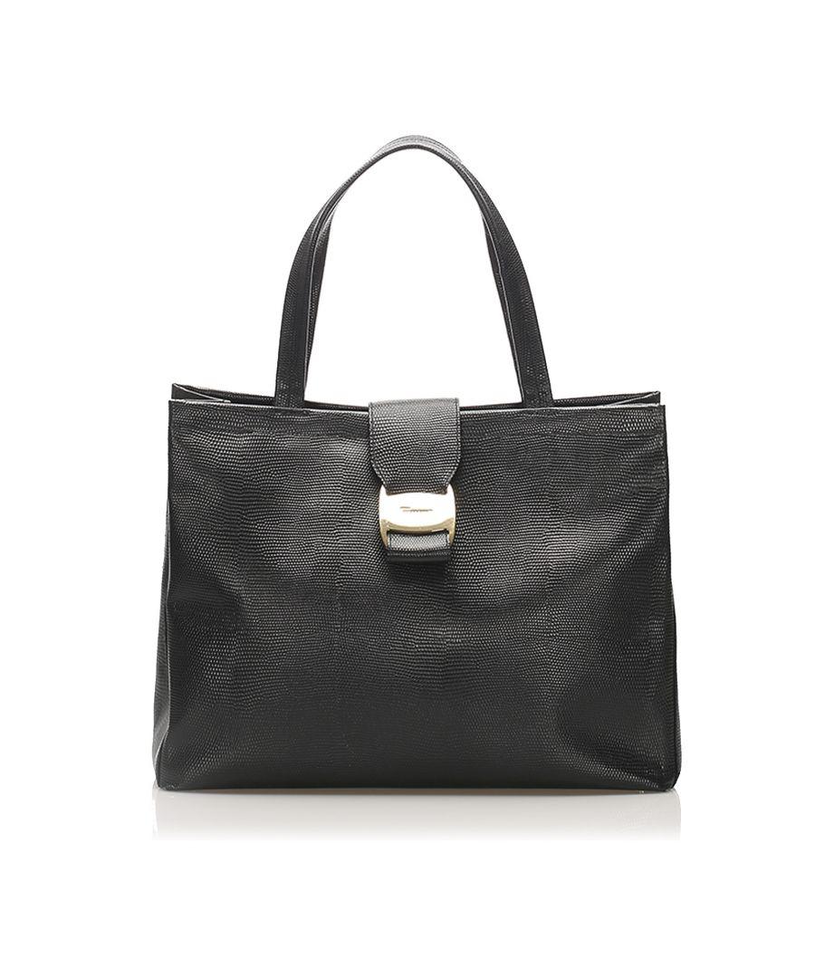 Image for Vintage Ferragamo Vara Leather Handbag Black