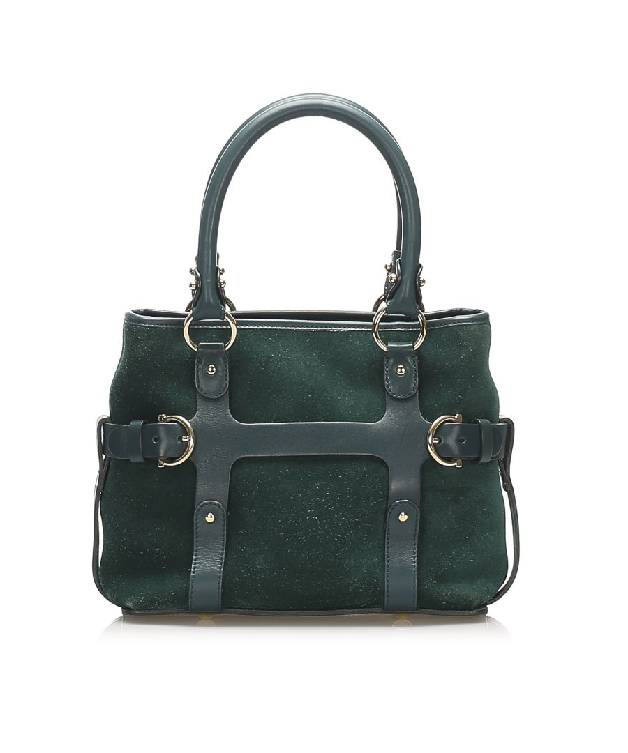 Image for Vintage Ferragamo Suede Leather Satchel Green