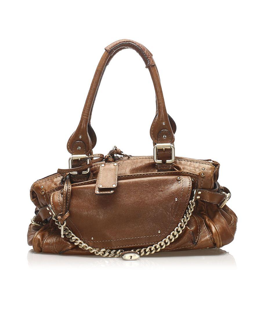 Image for Vintage Chloe Paddington Capsule Leather Shoulder Bag Brown