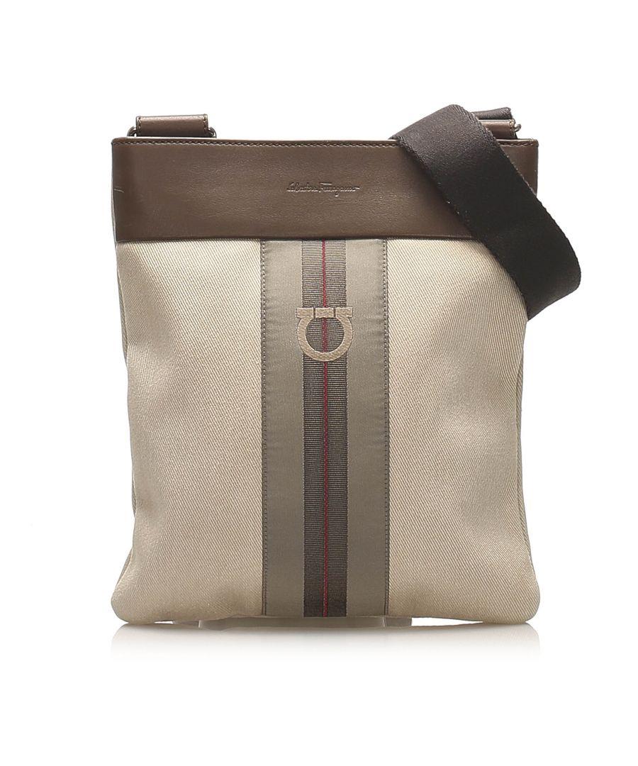 Image for Vintage Ferragamo Gancini Canvas Crossbody Bag Brown