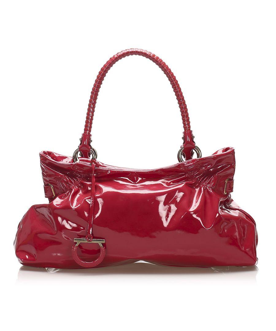Image for Vintage Ferragamo Gancini Patent Leather Shoulder Bag Red