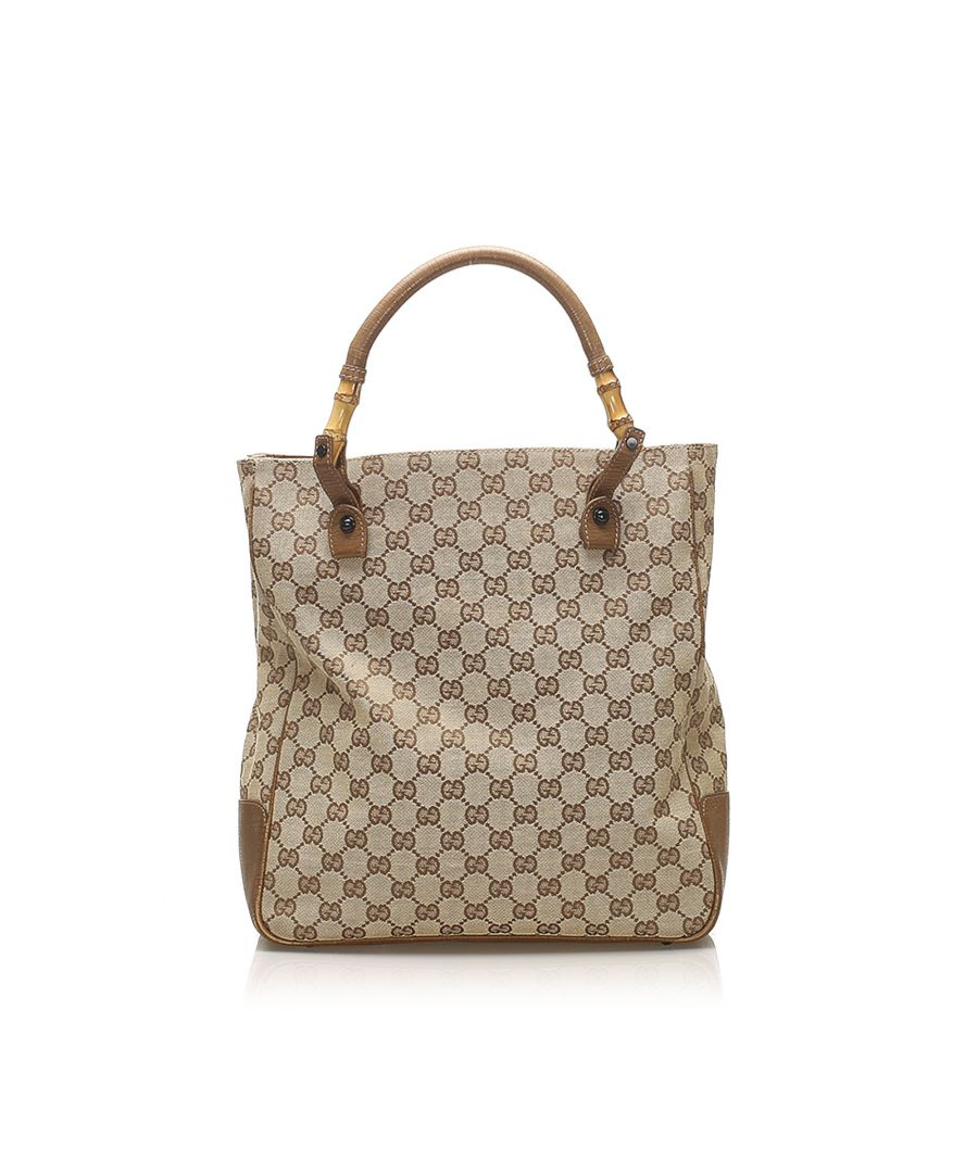 Image for Vintage Gucci GG Canvas Bamboo Tote Bag Brown