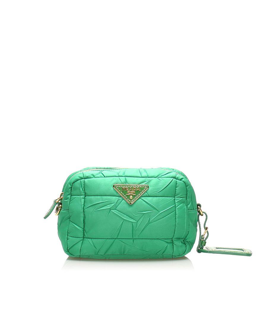 Image for Vintage Prada Tessuto Bomber Crossbody Bag Green